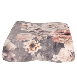 Romantische plaid met bloemen grijs 130*180