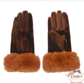 Set handschoenen met bontje bruin