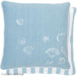 Kussenhoes Sea Shells blauw 40*40