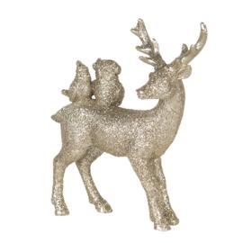 Decoratie hert met dieren goud/glitter