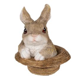 Decoratie konijn in strooien hoed
