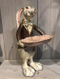 Decoratie konijn met dienblaadje 30cm
