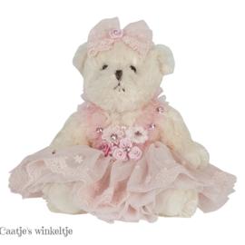 Decoratie beer met jurkje roze 20 cm