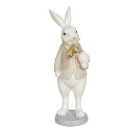 Decoratie konijn jongen crème/goud 10*10*25