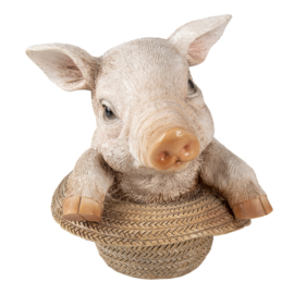 Decoratie varken in strooien hoed