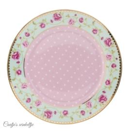 Ontbijt/gebaksbord met roosjes 19 cm
