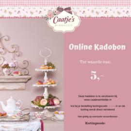 Online kadobon Caatje's winkeltje t.w.v  €5,00