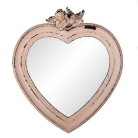 Spiegel roze hart met engel