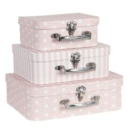 Decoratie kofferset (3) roze
