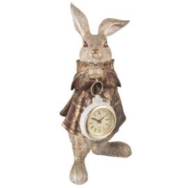 Decoratie konijn meisje met klokje