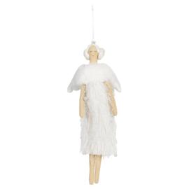 Decoratie engel hanger wit 13*31
