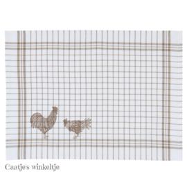 Stoffen placemats kippen natuurkleur (6)