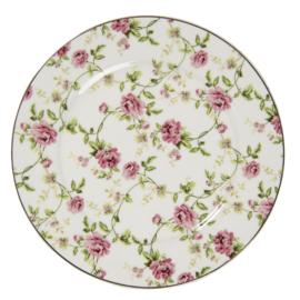 Ontbijt/gebaksbord roosjes 21cm