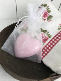 Hart zeep roze rozen 8*8