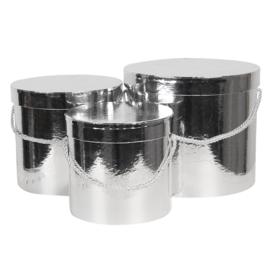 Hoedendoos zilverkleur set van 3