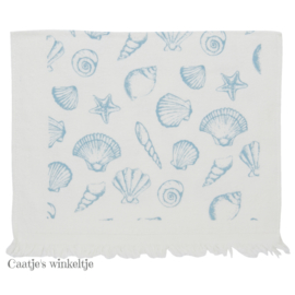 Gastendoekje schelpen Sea Shells blauw