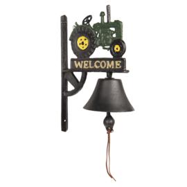 Ijzeren bel met tractor Welcome