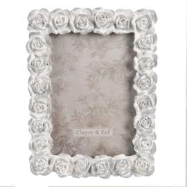 Fotolijst met roosjes grijs 12*16