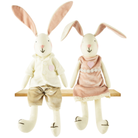 Set van 2 stoffen konijnen hij/zij