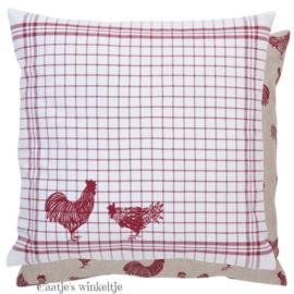 Landelijke kussenhoes kippen rood