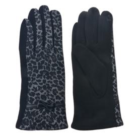 Set handschoenen kanten tijgerprint bruin