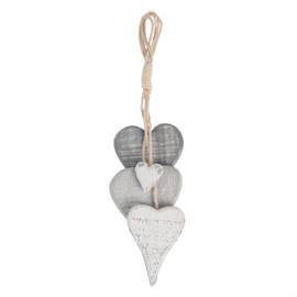 Decoratie hanger 4 hartjes grijs/wit