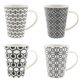 Mokkenset (4) zwart/wit