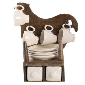 Decoratie houten kip met 4 espresso kop en schotels