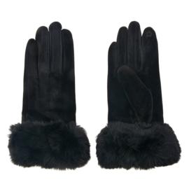 Set handschoenen met bontje zwart