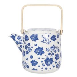 Theepot met blauwe bloemetjes en houten hengsel 0.8L