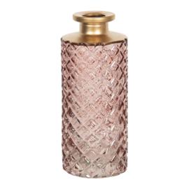 Vaas glas roze/goud 5*13