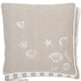 Kussenhoes Sea Shells natuurtint