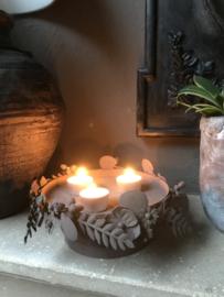 Waxinelichthouder met bloemen bruin 21*13