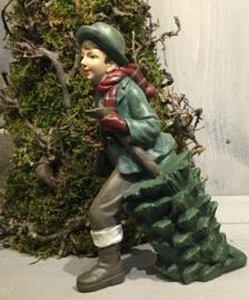 Decoratie jongen met kerstboom
