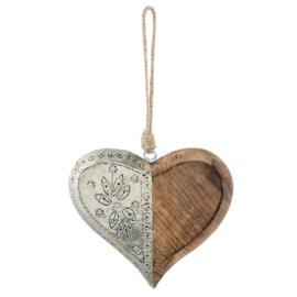 Hanger hart antiek zilver / hout 16*15