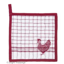 Landelijke pannenlap kippen rood