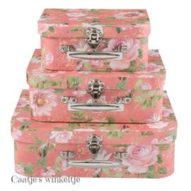 Koffersetje (3) bloemen roze