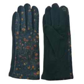 Set handschoenen met bloemetjes groen