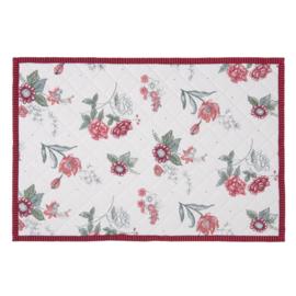 Placemats (6) bloemen roze/rood