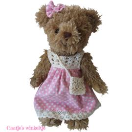 Teddybeer met jurkje roze 30cm