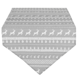 Tafelloper kerst grijs 50*160