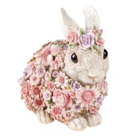 Decoratie konijn met bloemetjes