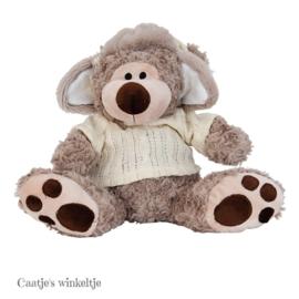 Knuffelbeer met trui en muts 20 cm