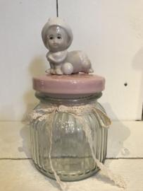 Decoratie voorraadpot baby roze (S)