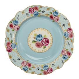 Ontbijtbord rozen blauw