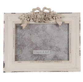 Brocante fotolijst met ornament beige 18*13