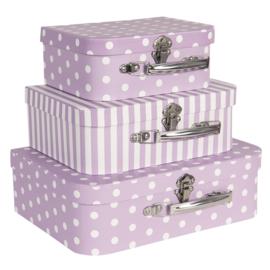 Decoratie kofferset (3) lila