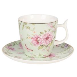 Romantische kop en schotel rozen groen
