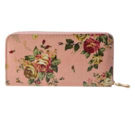 Portemonnee met roosjes roze