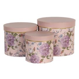 Hoedendoos set van 3 gebloemd roze